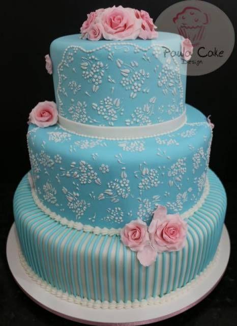 bolo de festa quinze anos azul e branco com flor rosa - Pesquisa Google