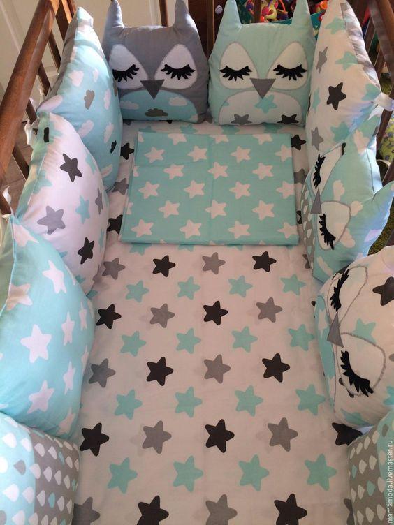 Купить Комплект в кроватку - комбинированный, комплект в кроватку, в кроватку, для новорожденных, бортики, бортики в кроватку: