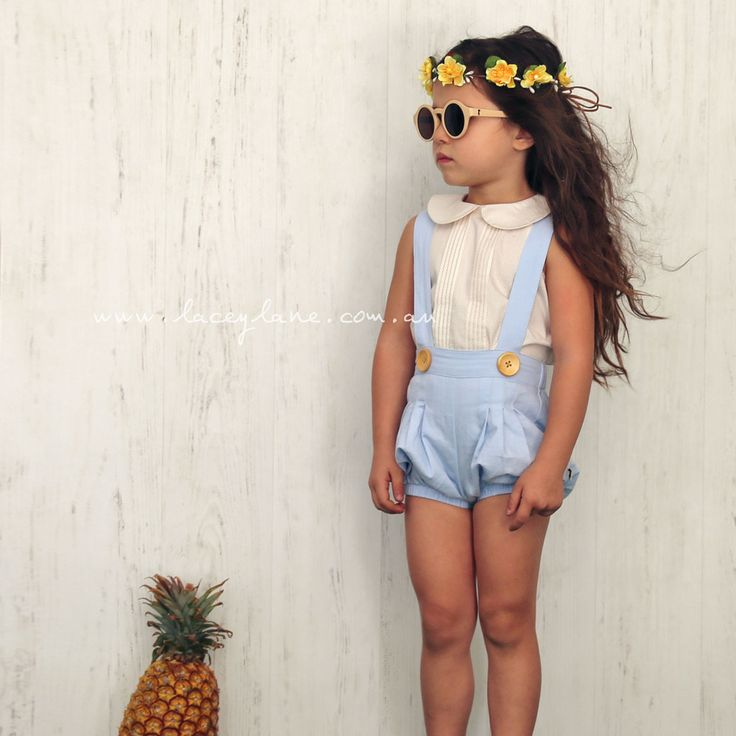 Lotti Suspender Bloomers $49.95 - Models are paired with Gigi Collared Blouse, Isla Collartop, Nora Headscarf, Buttercup Flower Crown and Lacey Lane Sunnies.