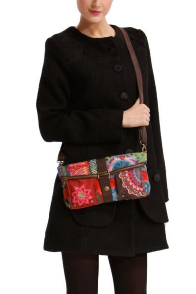 Desigual Women's Galactic Seduccio bag, with 2 mobile phone-size pockets at the front. Detachable strap, button and zip fastening.
