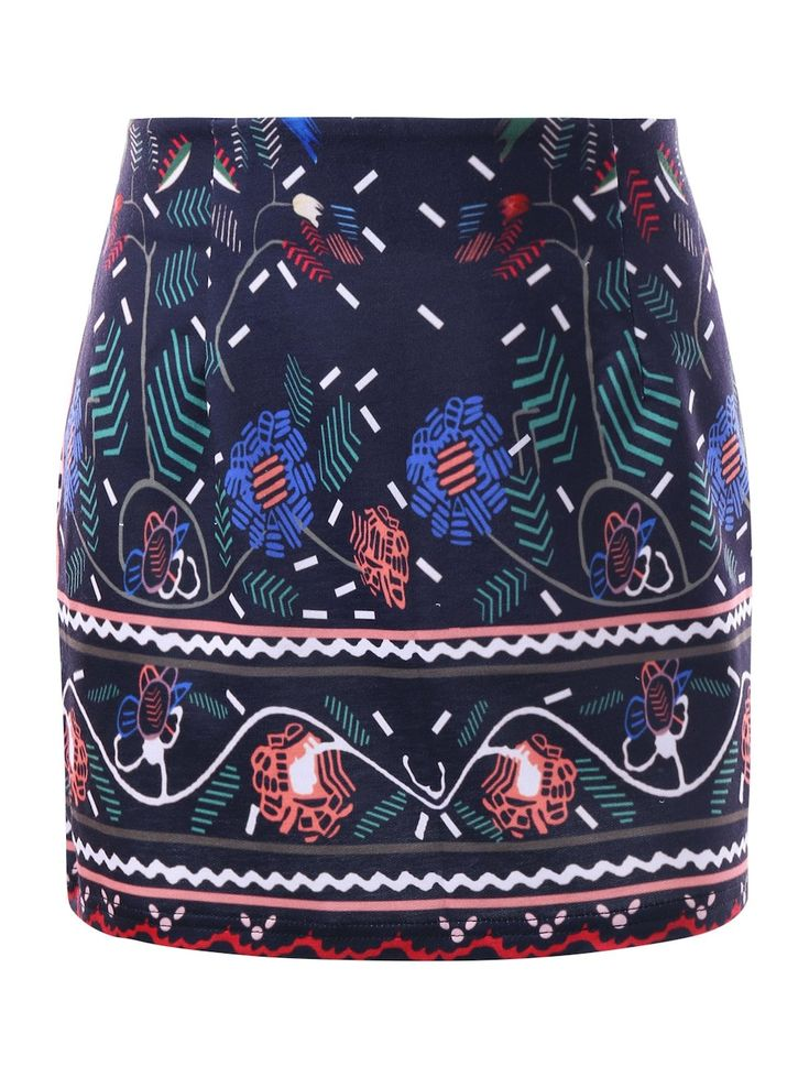 Graphic Tight Micro Skirt - DEEP BLUE L