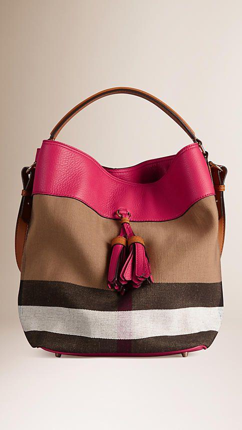 Burberry Pink Azalea Medium Canvas Check Leather Hobo Bag - Jute cotton Canvas check hobo bag in with a grainy leather panel.  Flat leather shoulder strap and detachable crossbody strap.  Discover the women's bags collection at Burberry.com