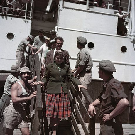 New immigrants disembarking from the Theodor Herzl, near Haifa, Israel], 1949 -50 Photograph: Robert Capa/International Center of Photograph...