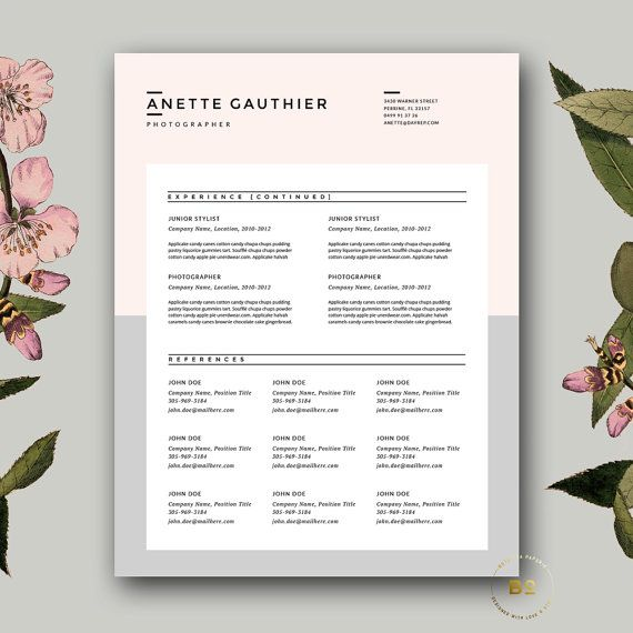 Minimalist Resume + FREE Cover Letter Template for MS Word & iWork Pages | Instant Digital Download | BotanicaPaperieShop