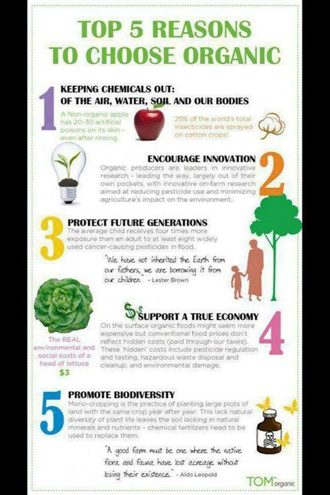 Top 5 reasons to choose organic. #gmo #health #fitness #diet #diabetes #type1 #organic #healthylifestyle #nogmo #diet #weightloss #essante