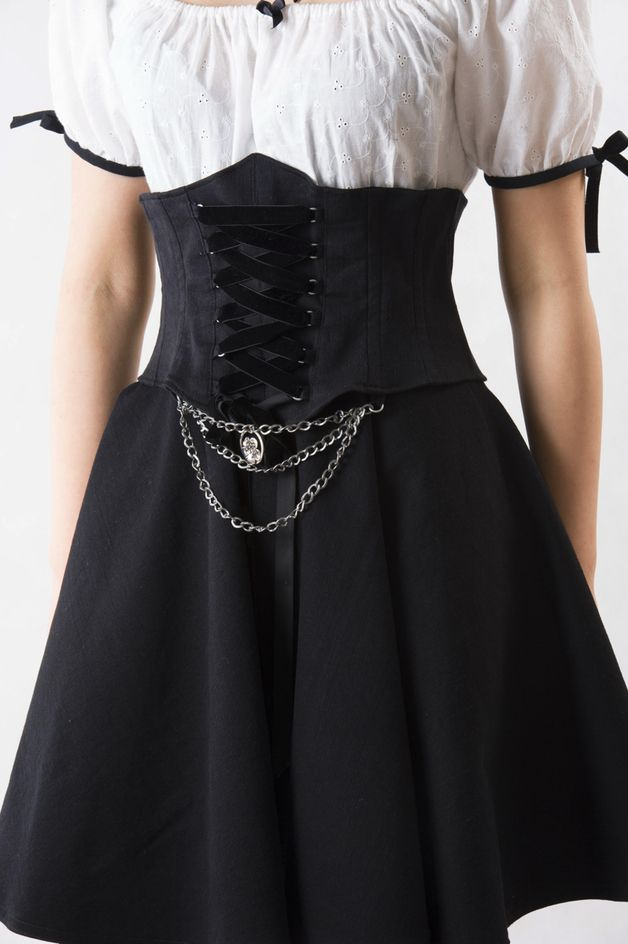 Gorset z jeansu, styl, gotyk, romantyczny r. 38 - Tantum - Moda gotycka