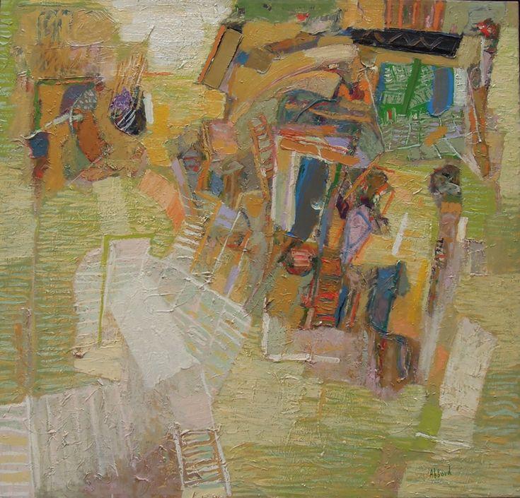 Abboud, Maisons en Sancerrois 1989 - Maisons en Sancerrois, 1989. Oil on canvas, 95 x 100 cm. © Succession Shafic Abboud. Courtesy Galerie Claude Lemand, Paris.