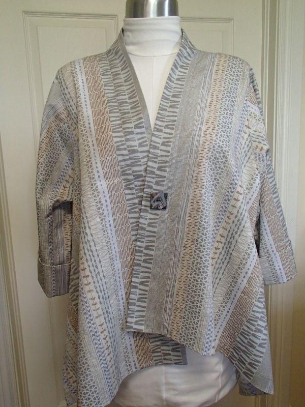 Japanese Cotton Dobby Print - Geometric Stripes Cream - Distinctive Sewing Supplies