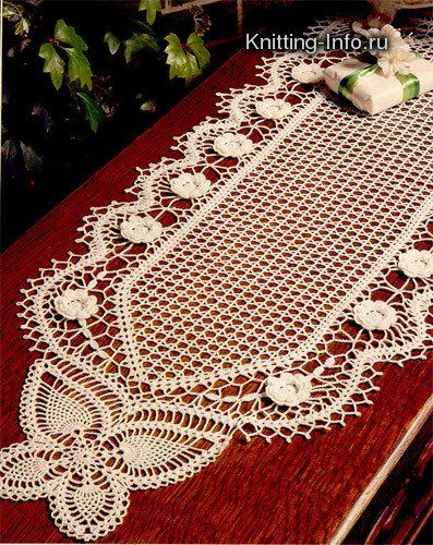 شغل ابره NEEDLE CRAFTS: مفرش كروشيه لمنتصف الطاوله- center table crochet doily  Gorgeous table runner!