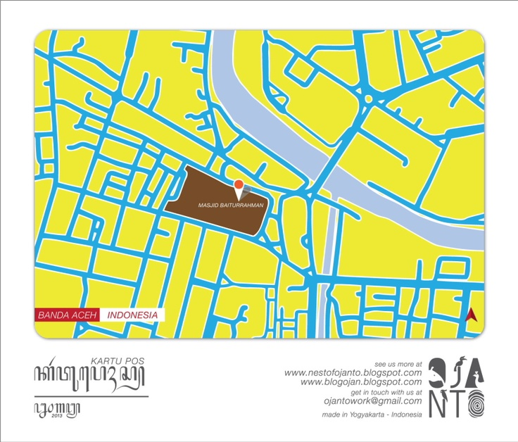 Indonesian City Maps Postcard Series (January 2013) | Banda Aceh - Indonesia | special spot : Masjid Baiturrahman | Postcard Design by Ojan