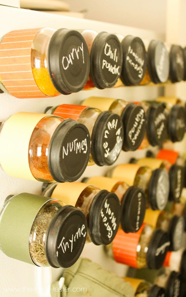 DIY Magnetic Spice Jars- so smart. why didn't I think of this when I had baby food jars coming out of my ears?
