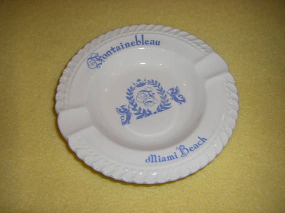 Vintage Fontainebleau Miami Beach ceramic ashtray hotel