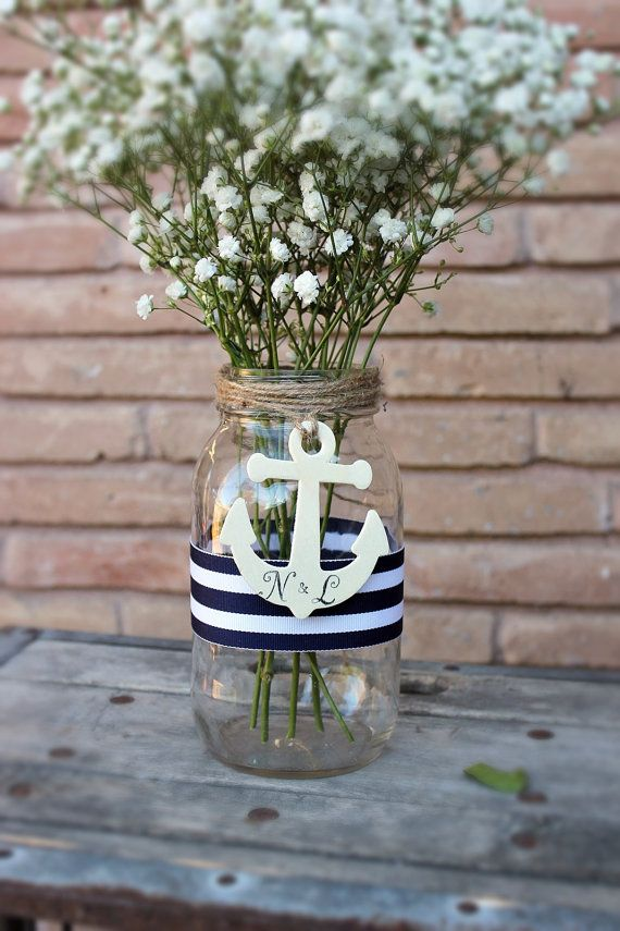 personalized anchor centerpiece mason jar . by MontanaSnow on Etsy