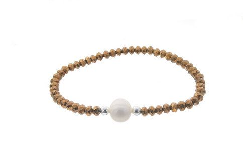 Golden natural stone bracelet with white pearl -Colors: Brown, Black-Blue, Golden or blue -Elastic bracelet - 925 Silver -Hand made in Spain by CuchiCuchiSHOP on Etsy
