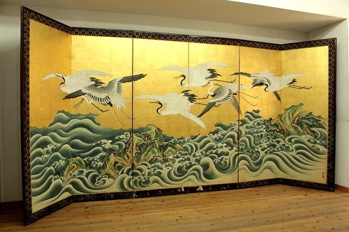 Japanese-golden-BYOBU-folding-screen-Tsurusawa-Tanzan-CRANES-18c: Japanese Paintings, Essential Eye, Beautiful Screens, Japan Paintings, Mixed Media, Asia Art, Decor Screens, Furniture Byōbu