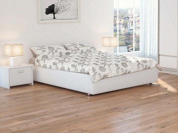 Кровать Veda 1 Base белая экокожа - Элегантная кровать без изголовья из ДСП. Каркас основания выполнен из металла, ламели - из берёзы.