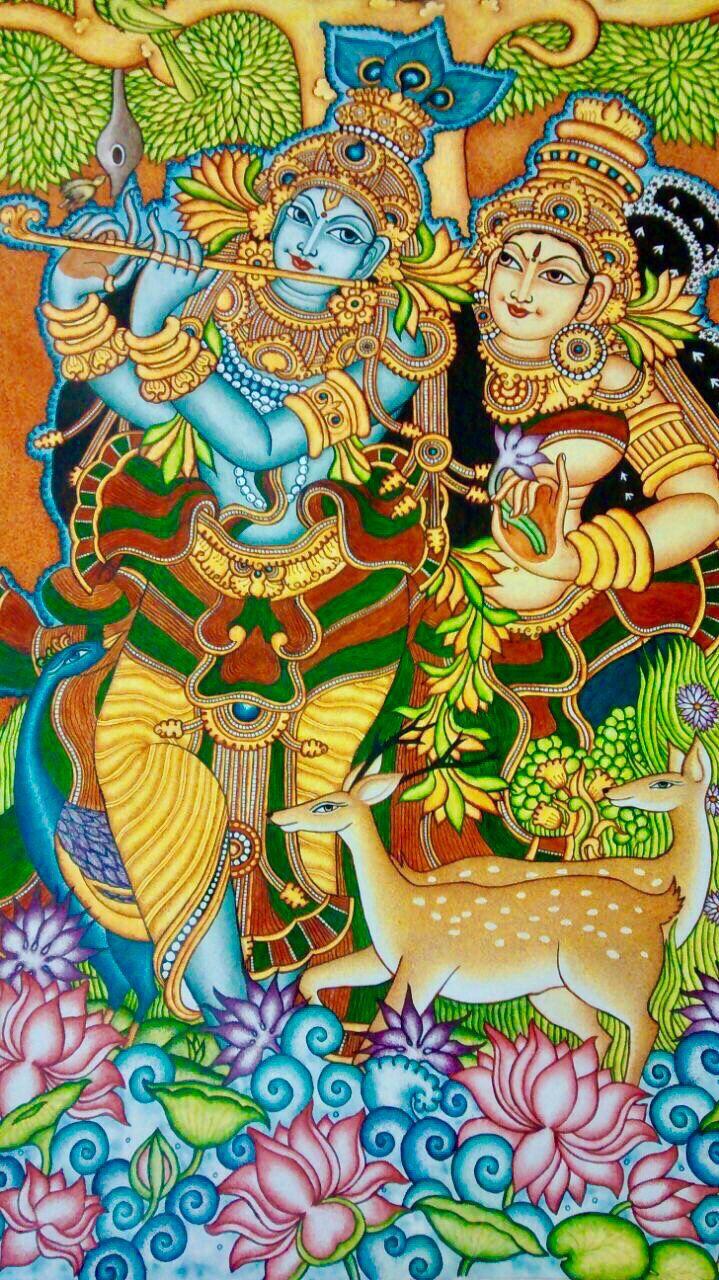 28x42 in Kerala Mural Painting Radha and Krishna Large
