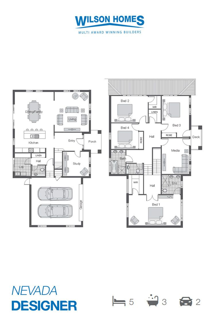 Nevada Floor Plan by Wilson Homes - Designer Range -  A two storey home of grand proportions, incorporating Open Plan Family Area with Formal Living, Study, Four Bedrooms with extensive Master Retreat and Media Room which can easily be converted to the Fifth Bedroom. #twostoreyhomeplans #wilsonhomes