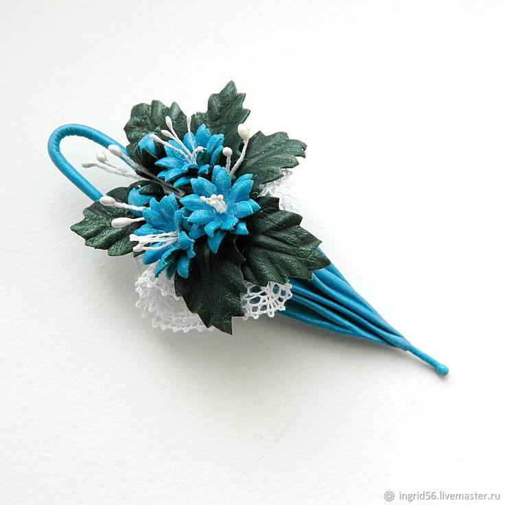 Купить Брошь из кожи Зонтик Предчувствие весны (голубой) в интернет магазине на Ярмарке Мастеров
