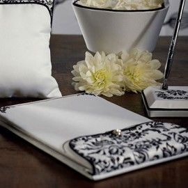 Guest Book Damasco bianco e nero