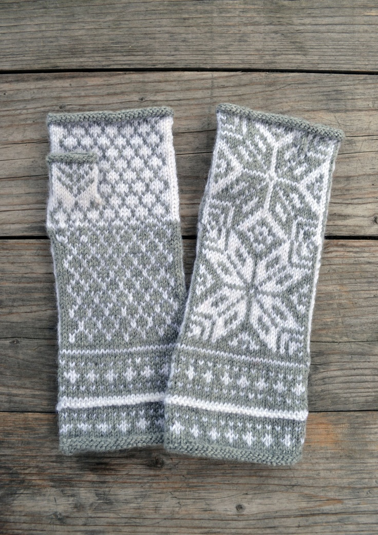 Nordic Gray Fingerless Gloves- Wool Fingerless Gloves with Stars-Scandinavian Gloves-Long Fingerless Gloves - via Etsy.