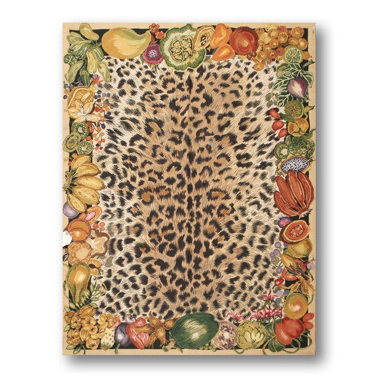 Cheetah Print Farmhouse Novelty Needlepoint Aubusson Rug