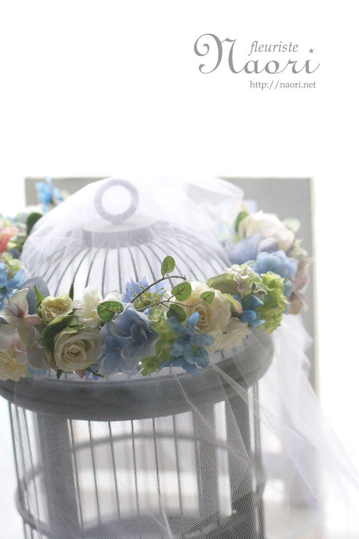 ブルースターとローズの花冠 ワイヤープランツ ブルー×パープル  ウェディング Flower crown / Blue Purple / Rose, Tweedia,  Maidenhair Vine /Wedding