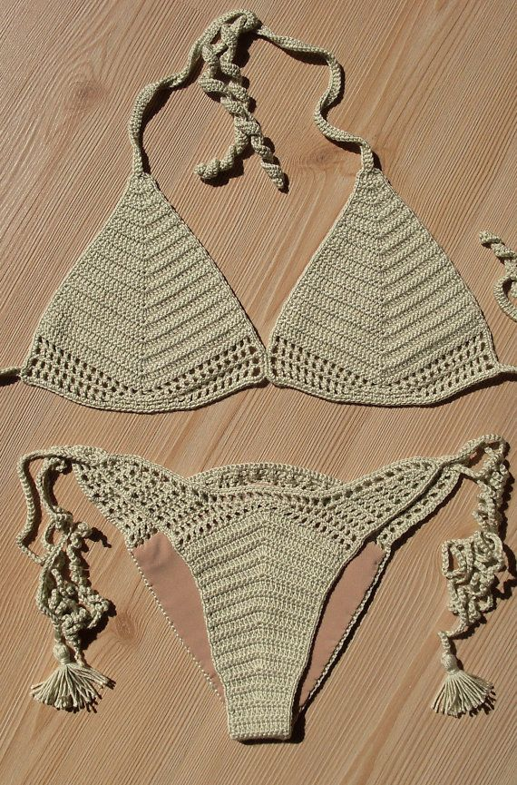 EXPRESS CARGO!!! Full Lined Beige Crochet Bikini, Women Crochet Brazilian…