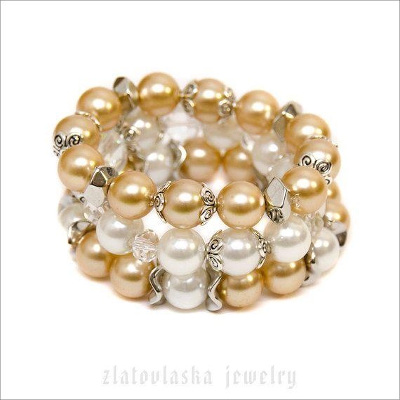 Pearl Beaded Bracelet Set by ZlatovlaskaJewelry on Etsy
