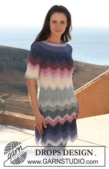 "DROPS dress in zigzag pattern with short raglan sleeve in ""Alpaca"" and ""Cotton Viscose"". Size XS - XXXL. ~ DROPS Design"