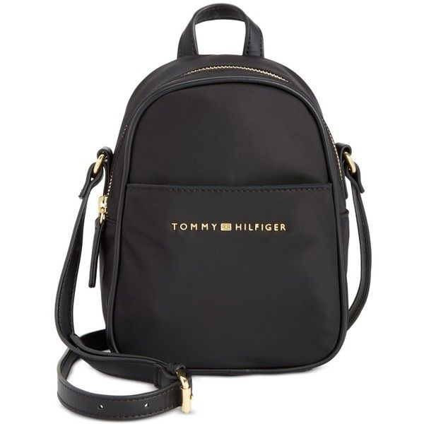 Tommy Hilfiger Juliette Nylon Mini Backpack Crossbody (€79) ❤ liked on Polyvore featuring bags, backpacks, black, crossbody bags, lightweight daypack, light weight backpack, tommy hilfiger and crossbody backpack