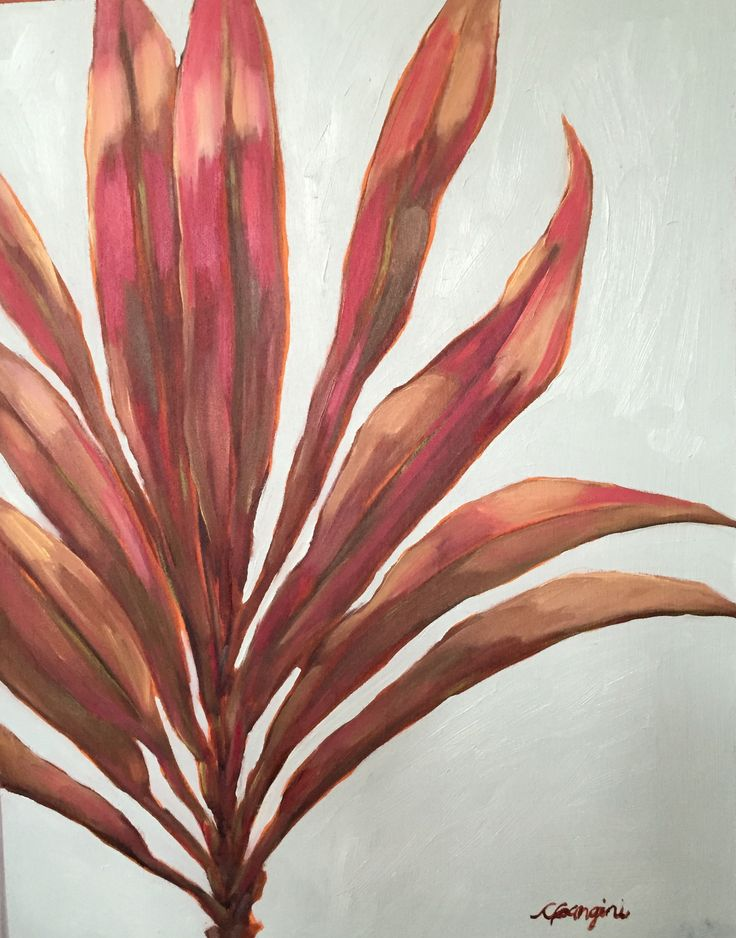 Red Ti Leaf  CGanginiArt. Maui, oil painting
