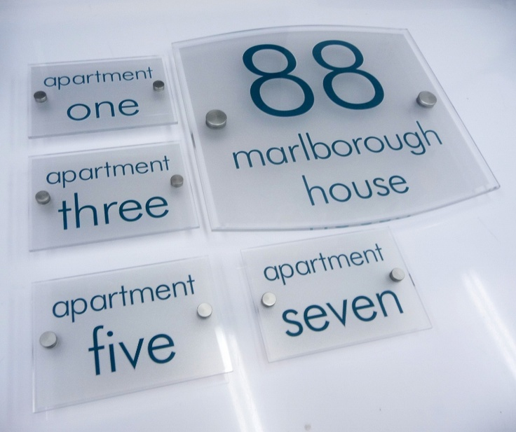 house name plate and apartment numbers www.de-signage.com