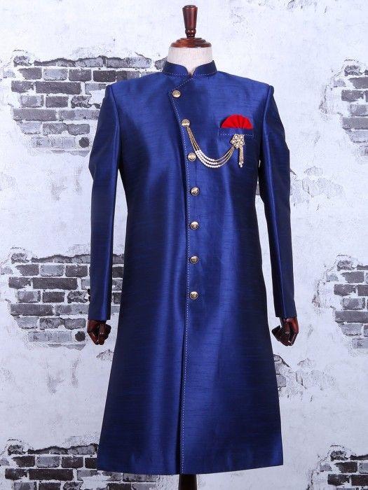 Solid Blue Raw Silk Wedding Wear Indo Western, mens wedding wear