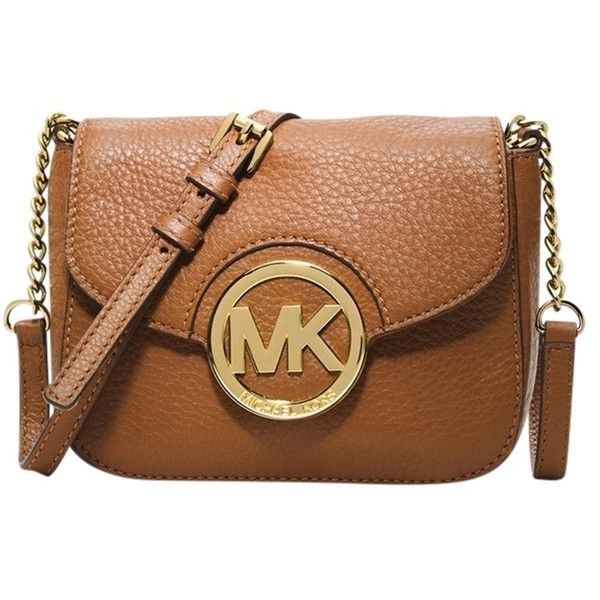 Pre-owned Michael Kors Michael Fulton Leather Small Luggage Cross Body... ($120) ❤ liked on Polyvore featuring bags, handbags, shoulder bags, luggage, leather crossbody, crossbody handbags, brown leather purse, leather cross body purse and michael kors handbags