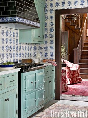 Designer: Rhoda Burley Payne. Photo: James Merrell. housebeautiful.comLake Houses, Cabinets Colors, Lakes House, Cabinet Colors, Blue, Tile, Stoves, Benjamin Moore, Kitchens Cabinets