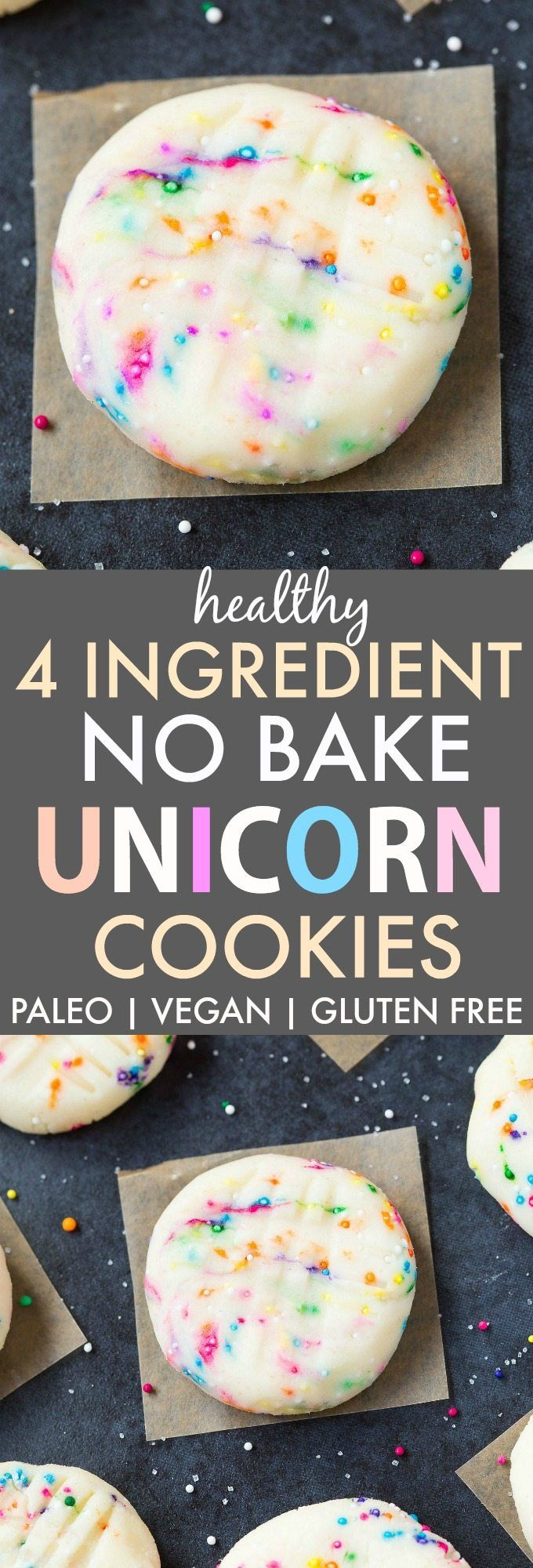 Healthy No Bake Unicorn Cookies (Paleo, Vegan, Gluten Free)- Quick, easy and delicious cookies using 4 ingredients inspired by the Starbucks Frappucino!