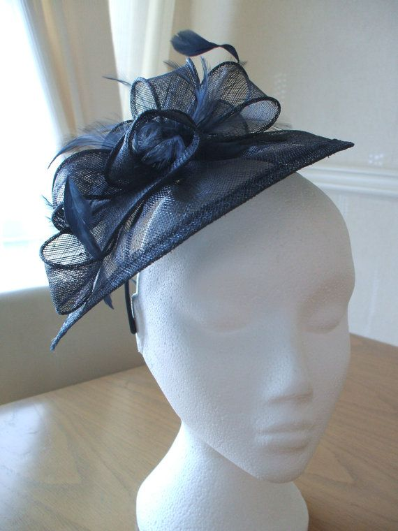 Navy Midnight Blue Fascinator and Feather Fascinator on a hairband, races, weddings, special occasions