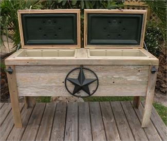 NEW Hand-Made Weathered Wood Outdoor DOUBLE Ice Chest With Black Star. I want one of these for drinks by the pool! One compartment for kid, one for adult beverages.
