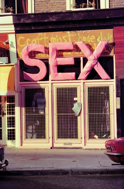 awaywiththefairies:Malcolm McLaren and Vivienne Westwood's shop, 'Sex', Kings Road,London, 1975 via