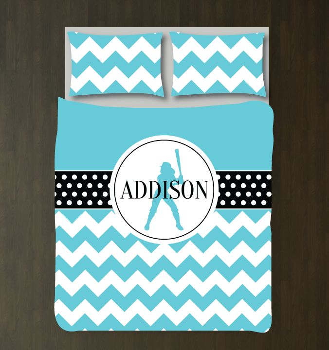 You eat, sleep and breathe softball, so why not dream about it under your new softballthemed polka dot and chevron duvet cover?You can choose ANY of the colors from our palette for the bedding set or order it in the aqua black and white color combo shown. This custom bedding is the perfect room decor for any girl or teen softball player. Great kids sports themed Christmas present or birthday gift for athletes.