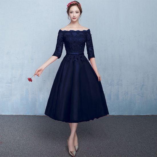 601bf460a7fd5 ミモレ丈 ドレス ワンピース ウェディング 結婚式 花嫁 新婦 二次会 かわいい オフショルダー 七分袖