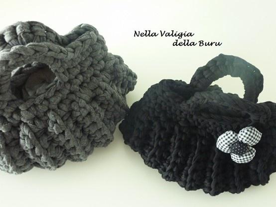 Crochet bag handmade - borsa in fettuccia con punto a coste - TUTORIAL PHOTO