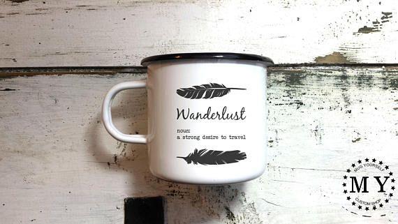 Vintage design personalised enamel mugs / Gift enamel mugs /