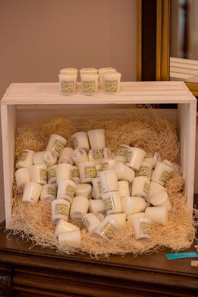 "Yankee Candle ""Wedding Day"" favors. Love this idea, but have them coming out of a present for my holiday wedding."