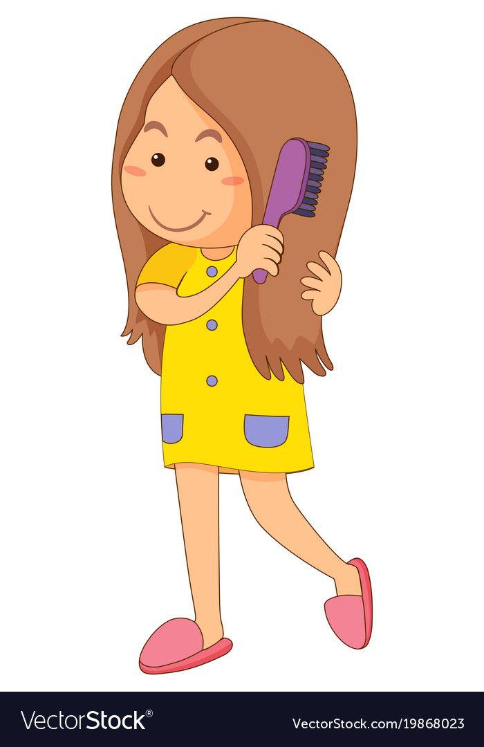 Little Girl Combing Hair Vector Image On Vectorstock Hair Vector Hair Illustration Hair Clipart