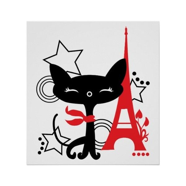 Cat silhouette in France illustration Poster ($21) ❤ liked on Polyvore featuring home, home decor, wall art, kitty poster, cat home decor, framed wall art, framing posters and cat poster