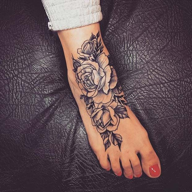 Large Rose Foot Tattoo Design #tattoodesigns