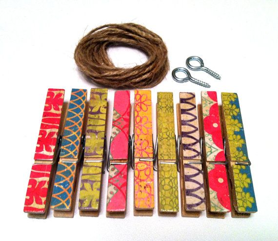 Photo Clothesline Kit Boho Chic Rustic by HellaBellaCreations, $10.00 *** I can totally DIY this!