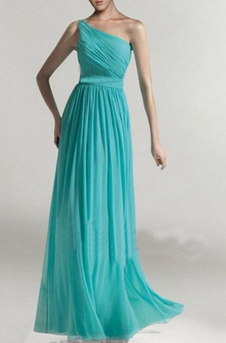 Custom Tiffany Blue Chiffon Dress,Long Turquoise Bridesmaid Dresses,One-Shoulder Bright Teal Bridal Party Dresses,Aqua Chiffon dress(CST001)...
